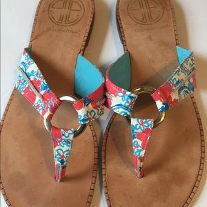 Lilly Pulitzer size 6.5 leather flip flops
